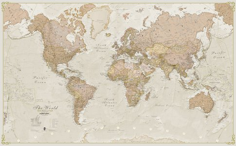 Gelamineerde wandkaart wereld antieke stijl Engelstalig 136 × 83 cm