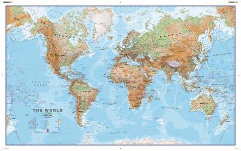 Gelamineerde wandkaart wereld natuurkundig Engelstalig 136 × 83 cm