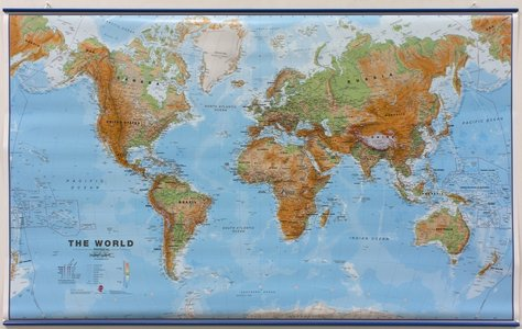 Wandkaart met ophangstrips wereld natuurkundig Engelstalig 136 × 83 cm