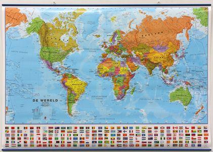 Wandkaart met ophangstrips wereld staatkundig Nederlandstalig 103 × 73 cm