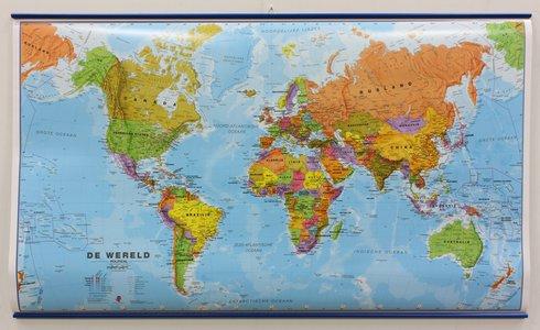Wandkaart met ophangstrips wereld staatkundig Nederlandstalig 103 × 60 cm