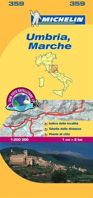 359 Michelin - Umbria Marche Wegen- En Fietsenkaart - 1:200.000