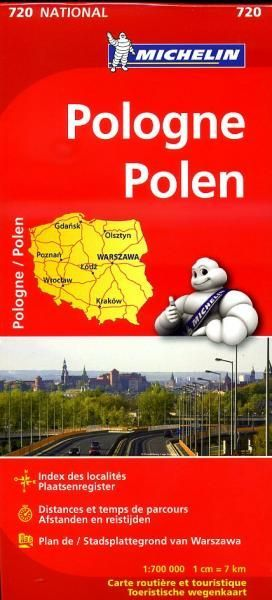 720 Michelin National - Polen Landkaart Wegenkaart - 1: 700.000