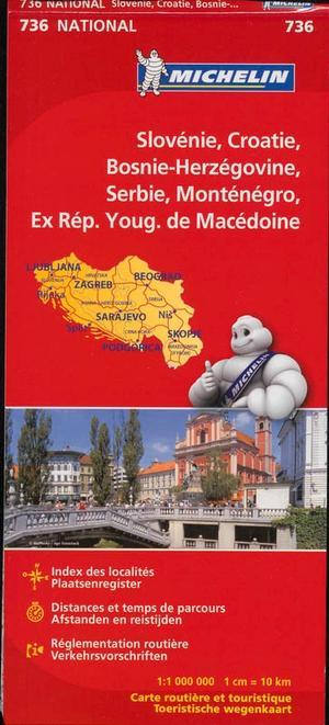 Michelin wegenkaart 736 Slovenie Kroatie Bosnie