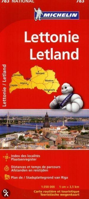 783 Michelin National - Letland Landkaart Wegenkaart /lettonie - 1:350.000