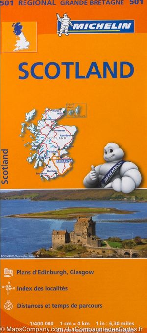 501 Michelin Regional - Schotland Wegenkaart Fietskaart /schotland - 1:400.000
