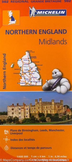 502 Michelin Regional - Engeland Noord Midlands Wegenkaart Fietskaart/ England - 1:400.000
