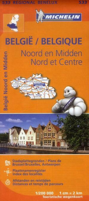 533 Michelin Regional - Belgie Midden Noord Wegenkaart Fietskaart / Belgie - 1:200.000
