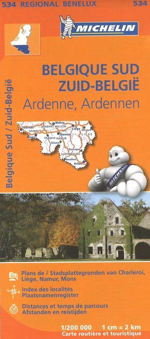 534 Michelin Regional - Belgie Zuid Ardennen Wegenkaart Fietskaart / Belgie - 1:200.000