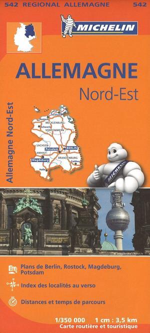 542 Michelin Regional - Duitsland Noord-oost Wegenkaart Fietskaart / Duitsland - 1:350.000