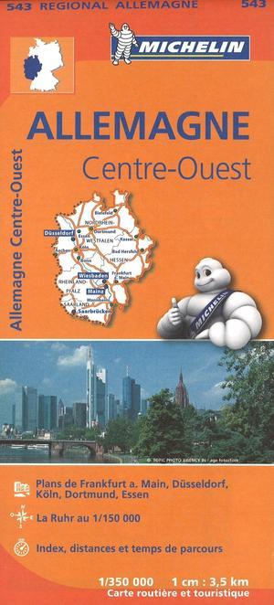543 Michelin Regional - Duitsland Midden West Wegenkaart Fietskaart / Duitsland - 1:350.000