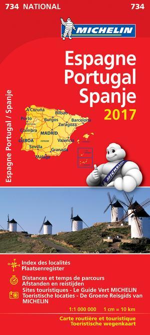 Spanje Portugal Michelin 734 2017