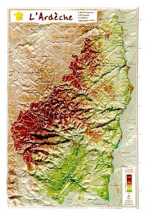 Georelief L Ardeche 07 31cm X 21cm