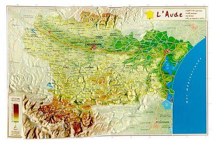 Aude Reliefkaart Georelief