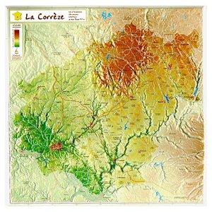 Correze Reliefkaart Georelief
