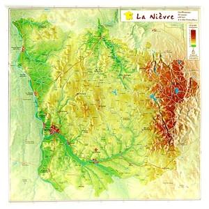 Nievre Reliefkaart Georelief