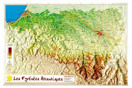 Pyrenees Atlant. Reliefkaart Georelief