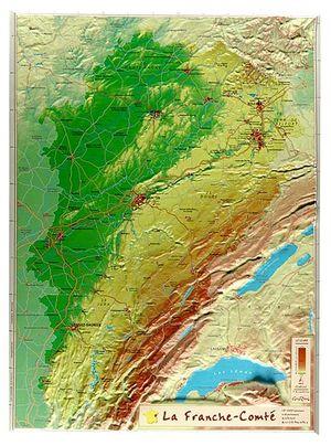 Franche-comte 3-d Reliefkaart Georelief
