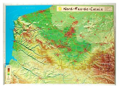 Nord-pas-de-calais Reliefkaart Georelief