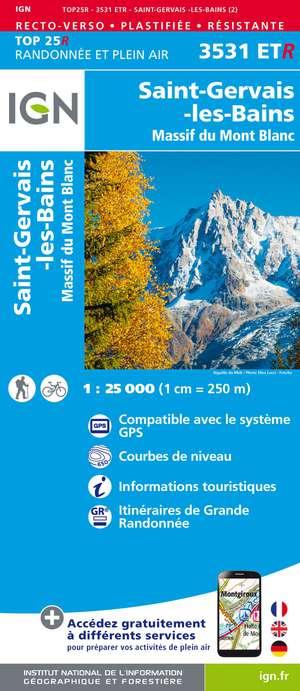 IGN 3531ETR St-Gervais-les-Bains / Massif du Mont Blanc geplastificeerd