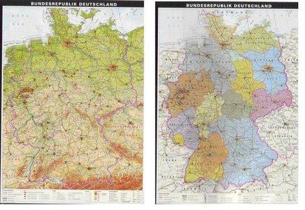 Deutschland politisch/physisch gelamineerde wandkaart Klett