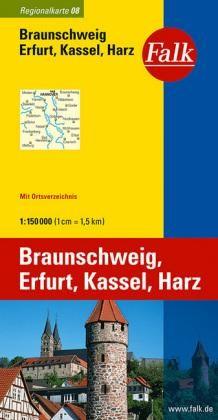 08 Falk Regionalkarte Braunschweig, Erfurt, Kassel, Harz. 1:150.000