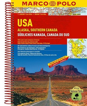 Verenigde Staten / Alaska - Zuid-Canada Wegenatlas Marco Polo