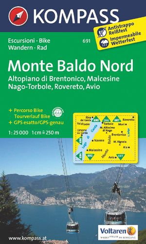 Kompass WK691 Monte Baldo Nord, Altopiano di Brentonico, Malcesine, Nago