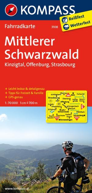 Kompass FK3108 Mittlerer Schwarzwald, Kinzigtal, Offenburg, Strasbourg