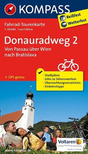 Kompass FTK7004 Donauradweg 2, Von Passau über Wien nach Bratislava