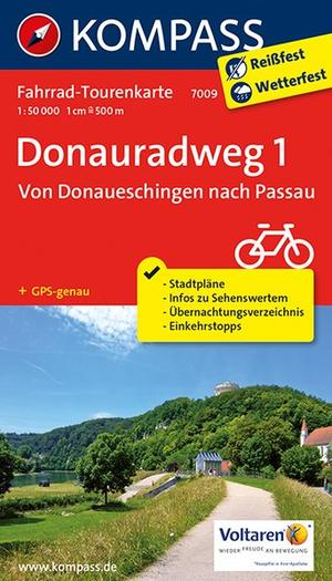 Kompass FTK7009 Donauradweg 1, Von Donaueschingen nach Passau