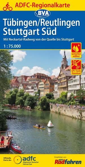 Tubingen / Reutlingen Stuttgart Süd fietskaart