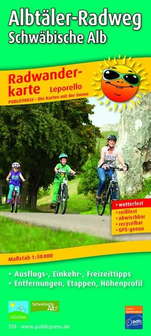 Albtäler Radweg Schwäbische Alb fietskaart