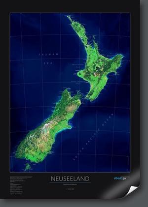 Nieuw-zeeland Satellietkaart Wandkaart D