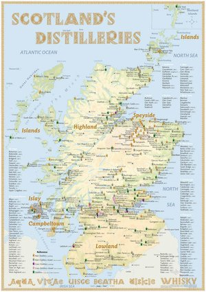 Distilleries Scotland Tasting Map Alba