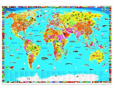 World map kids political illustrated met latjes