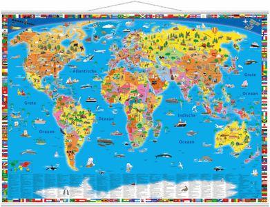 Wereldkaart kinderen politiek geïllustreerd met latjes