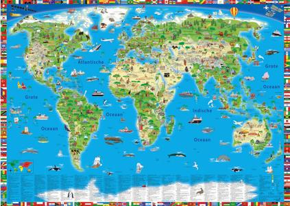 Wereldkaart kinderen geïllustreerd