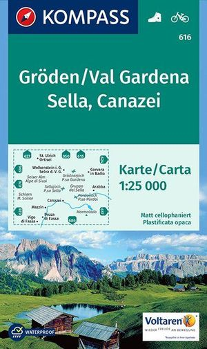 Kompass WK616 Gröden, Val Gardena, Sella, Canazei