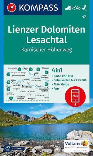 Kompass WK47 Lienzer Dolomiten, Lesachtal, Karnischer Höhenweg 1:50 000
