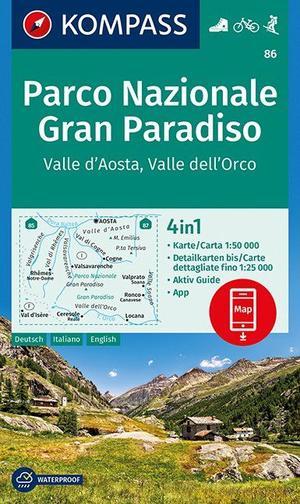 Kompas wk86 Parco Nazionale Gran Paradiso, Valle d'Aosta, Valle dell'Orco 1:50 000