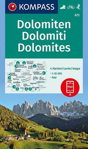 Kompass WK672 Dolomiten - Dolomites - Dolomiti 1 : 35 000