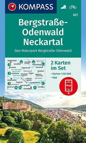 Kompass WK827 NP Bergstraße-Odenwald Neckartal1 : 50 000