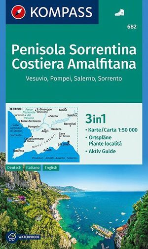 Penisola Sorrentina, Costiera Amalfitana, Vesuvio, Pompei, Salerno, Sorrento 1:50 000