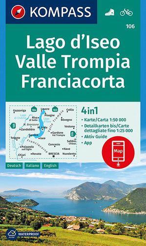 Kompass WK106 Lago d'Iseo, Valle Trompia, Franciacorta 1 : 50 000