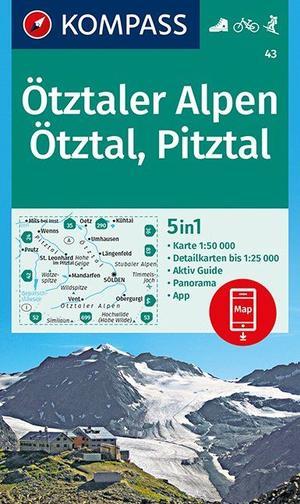 Kompass WK43 Ötztaler Alpen, Ötztal, Pitztal 1:50 000