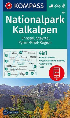 Kompass WK70 NP Kalkalpen, Ennstal, Steyrtal, Pyhrn-Priel-Region 1:50 000