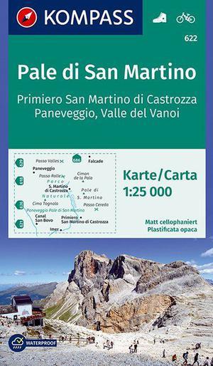 Kompass K622 Pale di San Martino, Fiera di Primiero, Paneveggio, Valle del Vanoi
