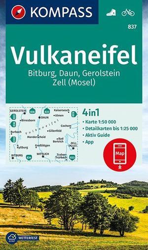 Kompass WK837 Vulkaneifel, Bitburg, Daun, Gerolstein, Zell (Mosel) 1:50 000