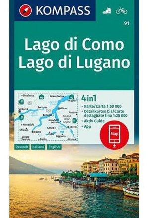 Kompass Wk91 Lago Di Como, Lago Di Lugano